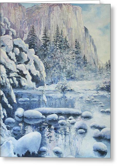 Greeting Card featuring the painting Winter In El Capitan by Tigran Ghulyan