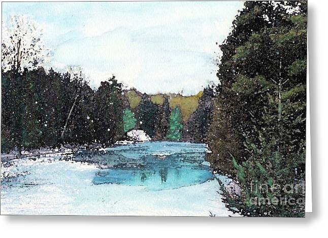 Greeting Card featuring the mixed media Winter In Kalkaska by Desiree Paquette