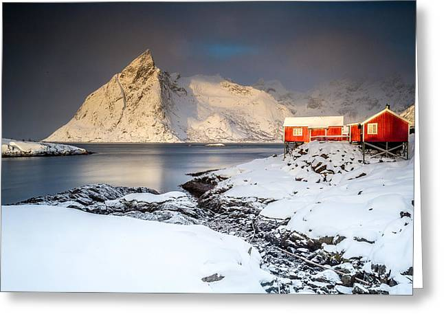 Winter In Lofoten Greeting Card by Alex Conu