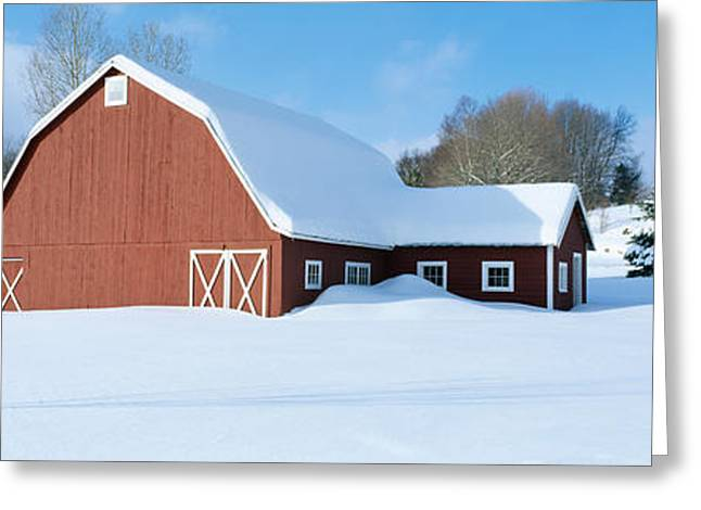 Winter In New England, Red Barn Greeting Card by Panoramic Images