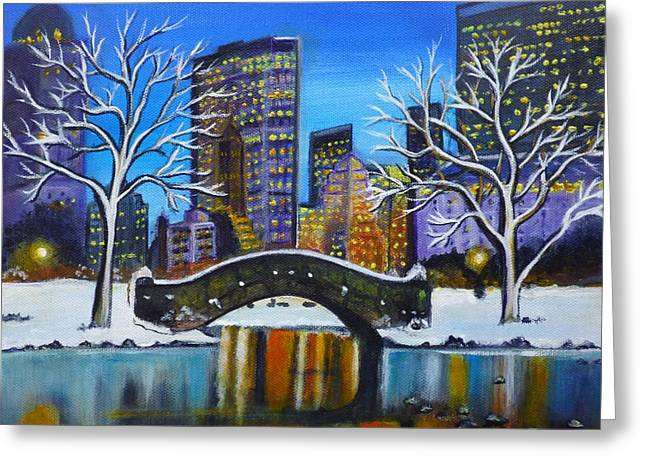 Winter In New York- Night Landscape Greeting Card