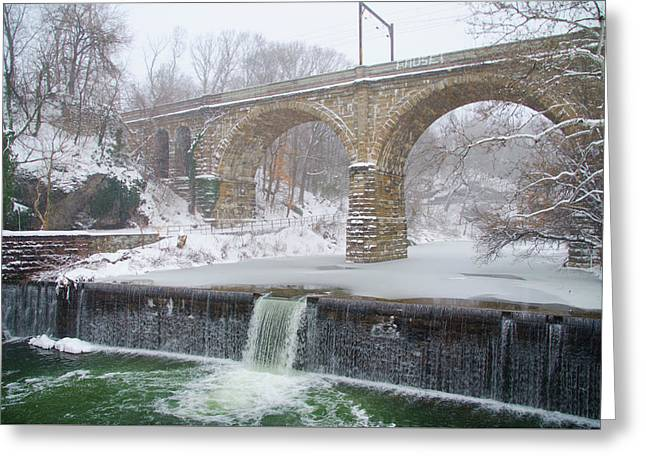 Winter In Philadelphia - Wissahickon Creek Waterfall Greeting Card