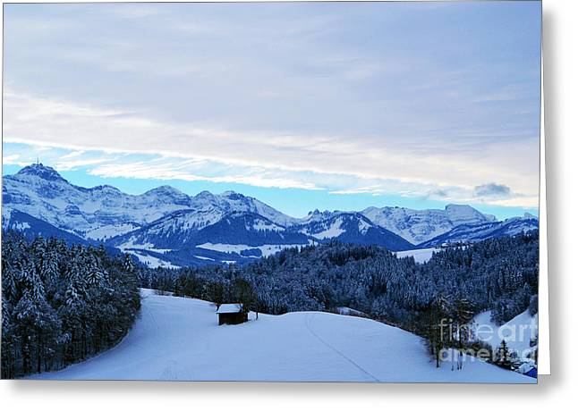Winter In Switzerland - The Santis Mountain Greeting Card