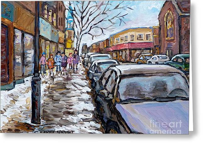 Winter In The City After Church Snowy Street Rue Wellington Verdun     Quebec C Spandau Canadian Art Greeting Card