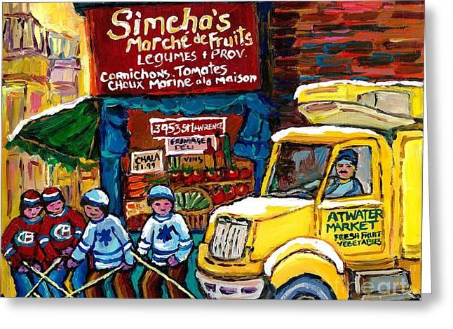 Winter In The City Montreal Memories Jewish Landmark Simcha's Fruit Store Canadian Hockey Art  Greeting Card