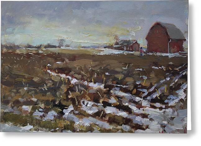 Winter In The Farm Greeting Card by Ylli Haruni