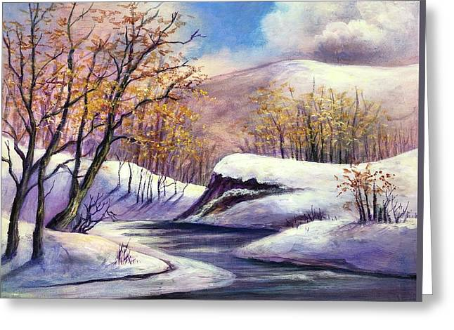 Greeting Card featuring the painting Winter In The Garden Of Eden by Randol Burns