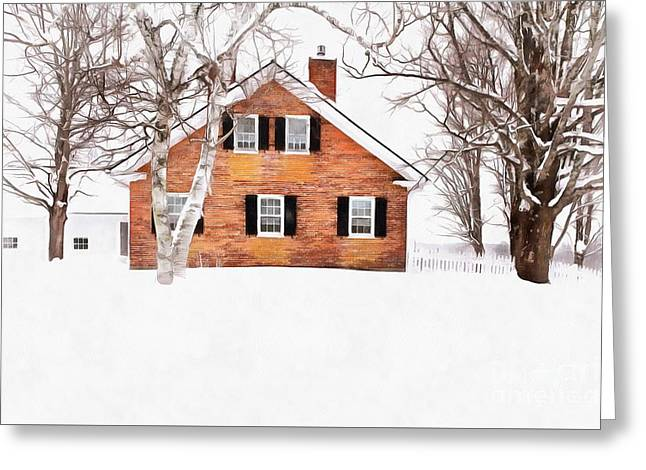 Greeting Card featuring the digital art Winter In The Upper Valley by Edward Fielding