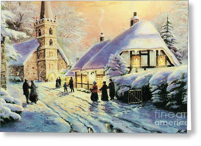 Winter In The Village Greeting Card by Carolyn MacMahon