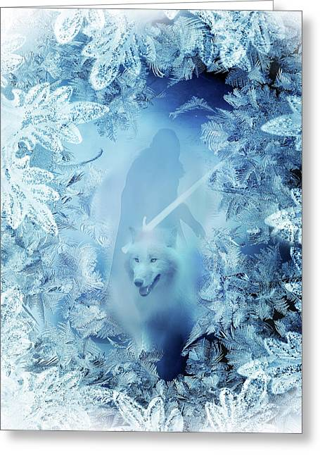 Winter Is Here - Jon Snow And Ghost - Game Of Thrones Greeting Card