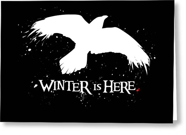 Winter Is Here - Large Raven Greeting Card
