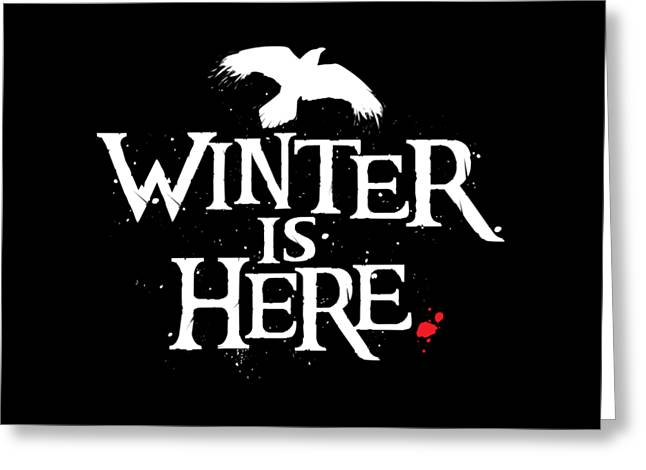 Winter Is Here - White Raven Greeting Card