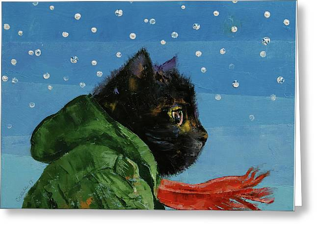 Winter Kitten Greeting Card by Michael Creese