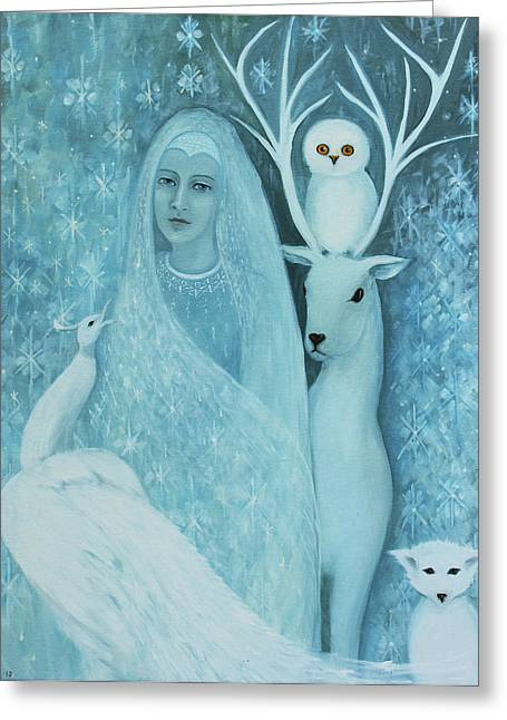 Greeting Card featuring the painting Winter Lady by Tone Aanderaa