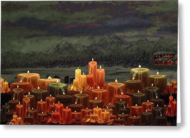 Winter Lakes Candle Light 3 Greeting Card by Ken Figurski