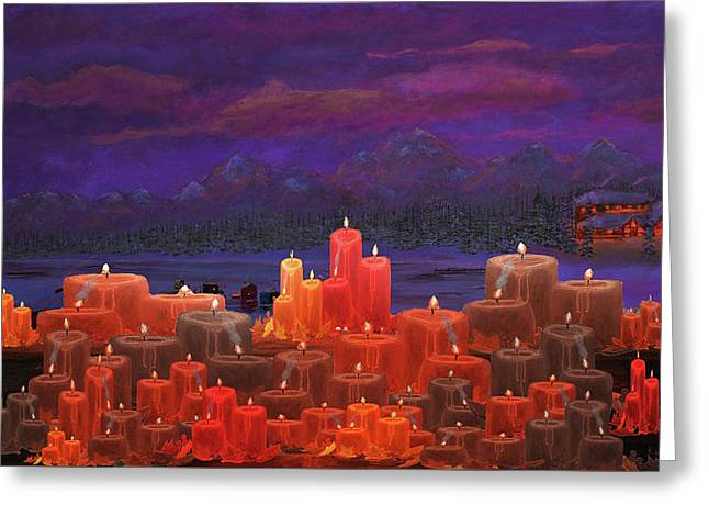 Winter Lakes Candle Light Greeting Card by Ken Figurski