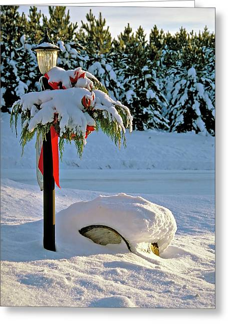 Winter Lamp Post In The Snow With Christmas Bough Greeting Card