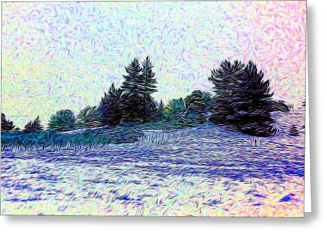 Winter Landscape 2 In Abstract Greeting Card