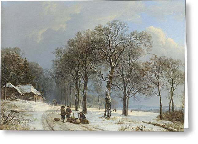 Winter Landscape Greeting Card by Barend Cornelis Koekkoek