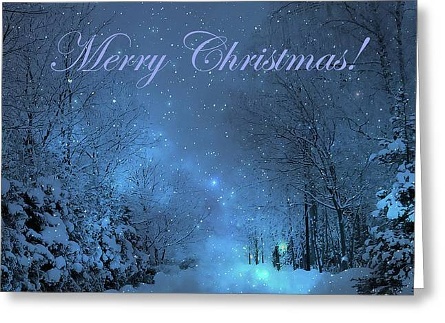 Winter Landscape Blue Christmas Card Greeting Card