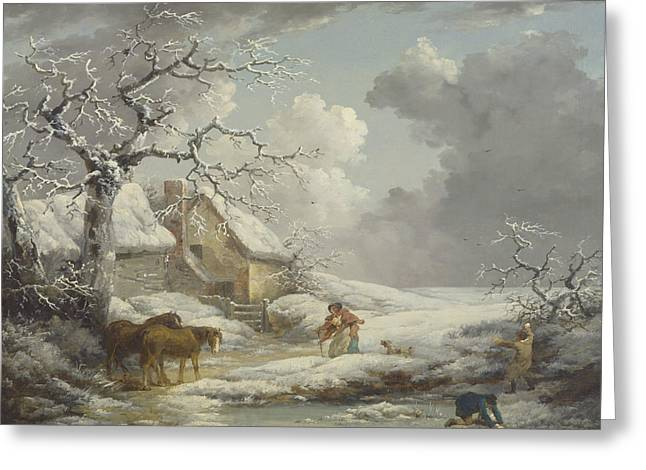 Winter Landscape Greeting Card by George Morland