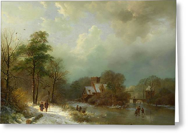 Greeting Card featuring the painting Winter Landscape - Holland by Barend Koekkoek