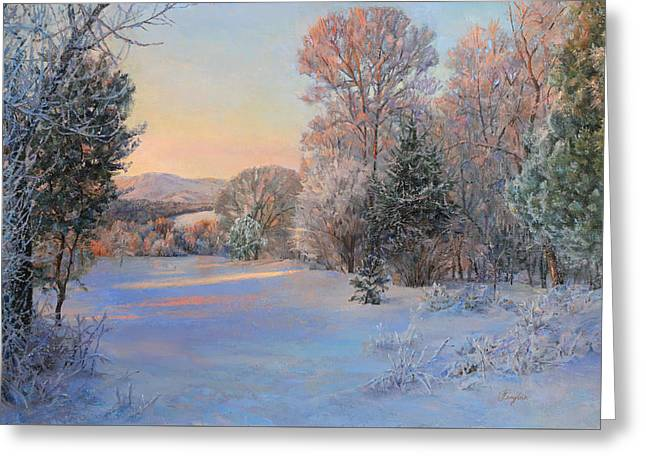 Winter Landscape In The Morning Greeting Card
