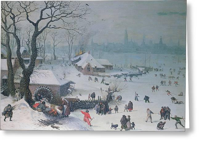 Winter Landscape Greeting Card by Lucas Van Valckenborch