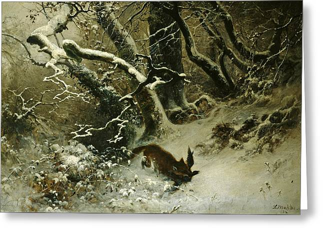 Winter Landscape Greeting Card by Ludwig Munthe