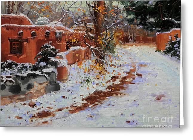 Winter Landscape Of Santa Fe Greeting Card by Gary Kim