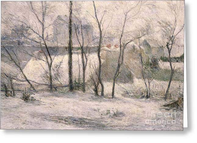 Bare Tree Greeting Cards - Winter Landscape Greeting Card by Paul Gauguin