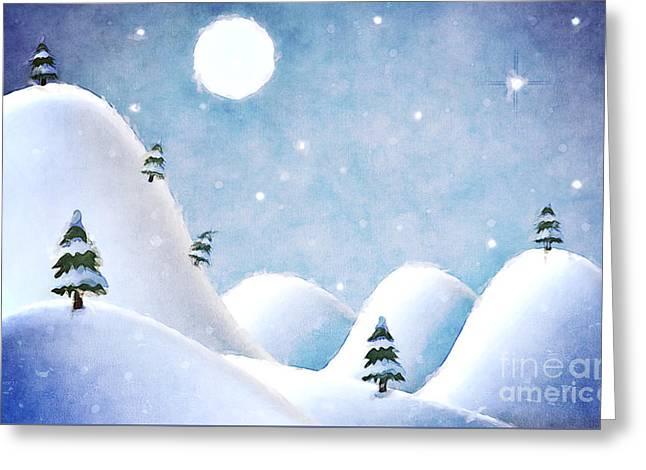 Winter Landscape Under Full Moon Greeting Card