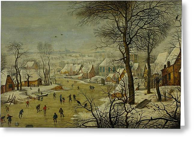 Winter Landscape With A Bird Trap Greeting Card by Pieter Brueghel the Younger