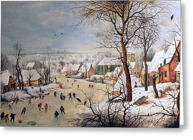 Winter Landscape With Birdtrap Greeting Card