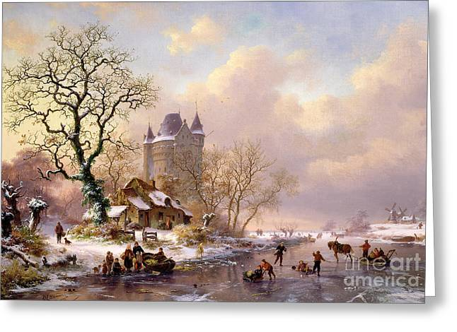 Winter Fun Paintings Greeting Cards - Winter Landscape with Castle Greeting Card by Frederick Marianus Kruseman