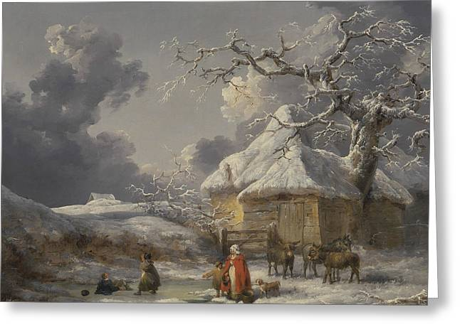 Winter Landscape With Figures Greeting Card