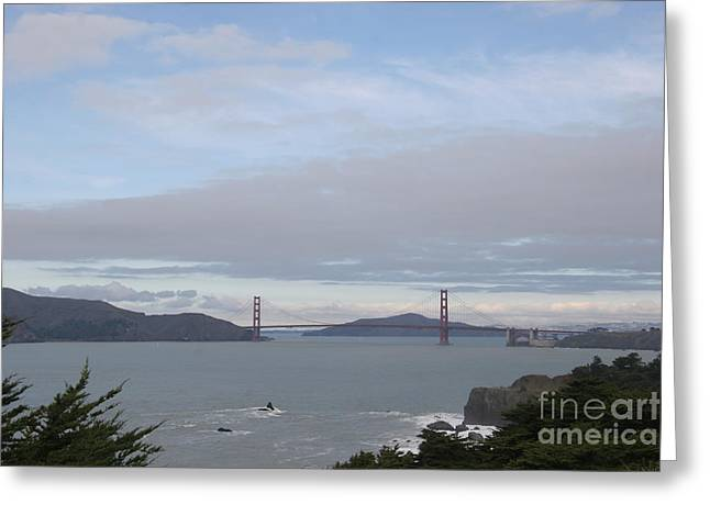 Winter Landscape With Golden Gate Bridge Greeting Card by Clay Cofer
