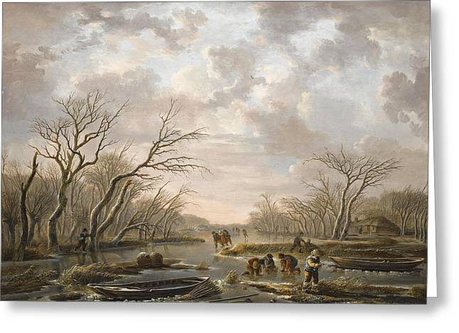 Winter Landscape With Skaters On A Frozen Canal Greeting Card