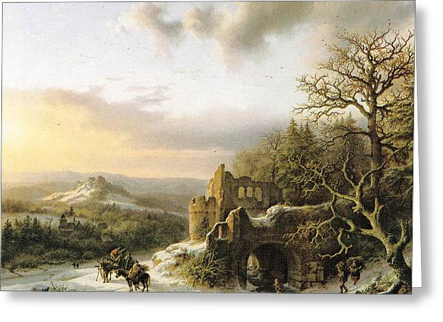 Winter Landscape With Peasants Gathering Wood Greeting Card