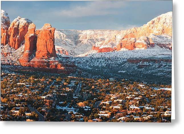 Winter Light In Sedona Greeting Card by Carl Amoth