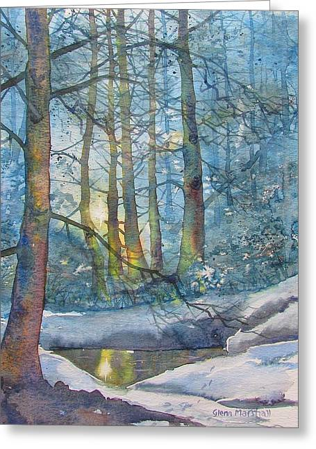 Winter Light In The Forest Greeting Card