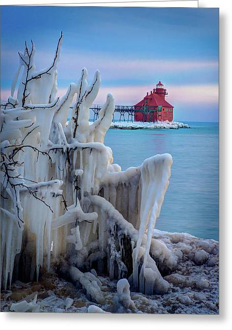 Winter Lighthouse Greeting Card