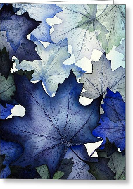 Translucent Greeting Cards - Winter Maple Leaves Greeting Card by Christina Meeusen