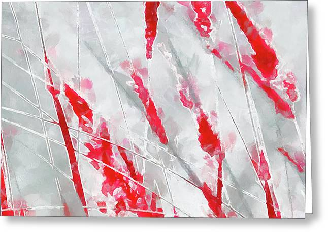 Winter Moods 1 - Cardinal Red And Icy Gray Nature Abstract Greeting Card