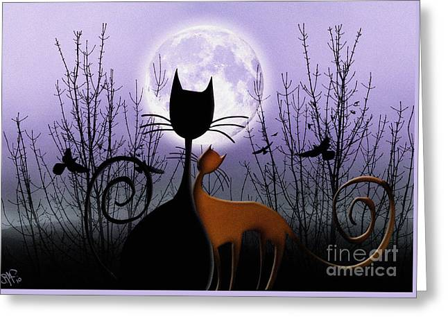 Greeting Card featuring the digital art Winter Moon Cats In Love by Rosa Cobos