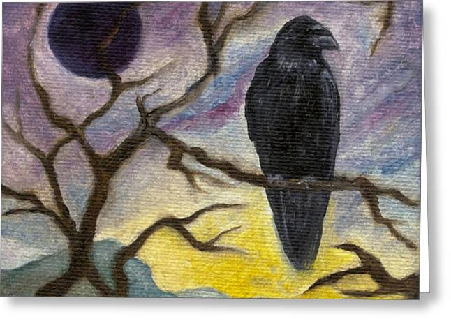 Winter Moon Raven Greeting Card
