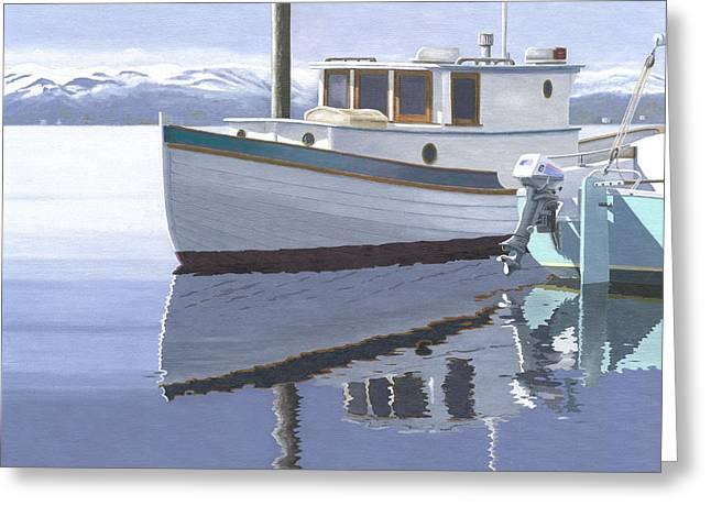 Greeting Card featuring the painting Winter Moorage by Gary Giacomelli