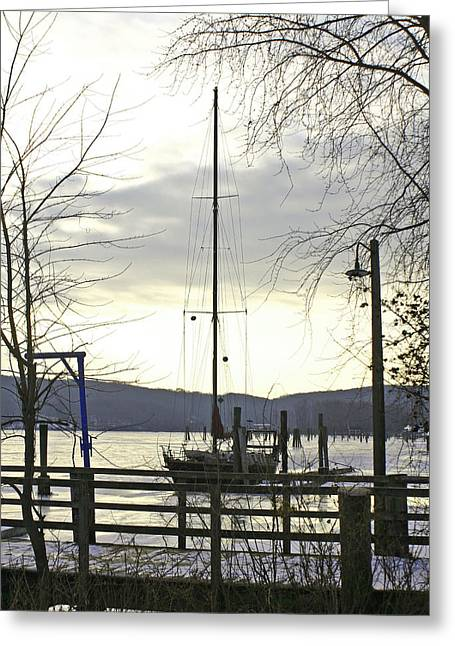 Winter Mooring Greeting Card by Gerald Mitchell