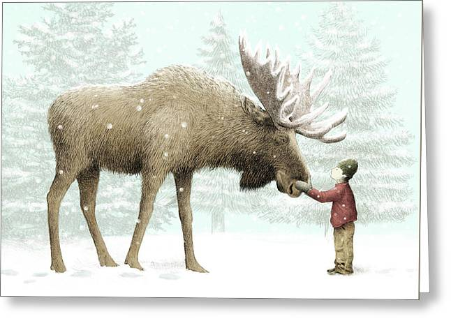 Winter Moose Greeting Card