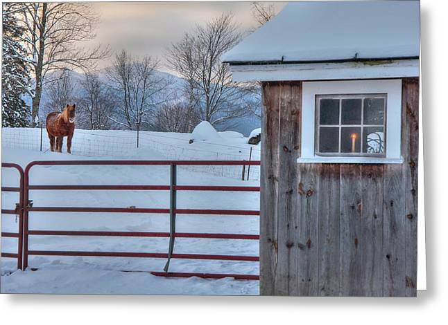 Winter Morning - Barn In Snow Greeting Card by Joann Vitali